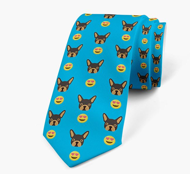 Neck Tie with Heart Eye Emoji and French Bulldog Icon pattern