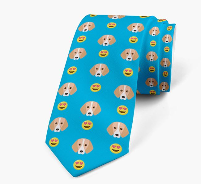Neck Tie with Heart Eye Emoji and Harrier Icon pattern
