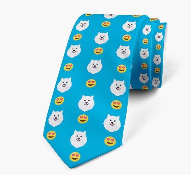 Neck Tie with Heart Eye Emoji and Japanese Spitz Icon pattern