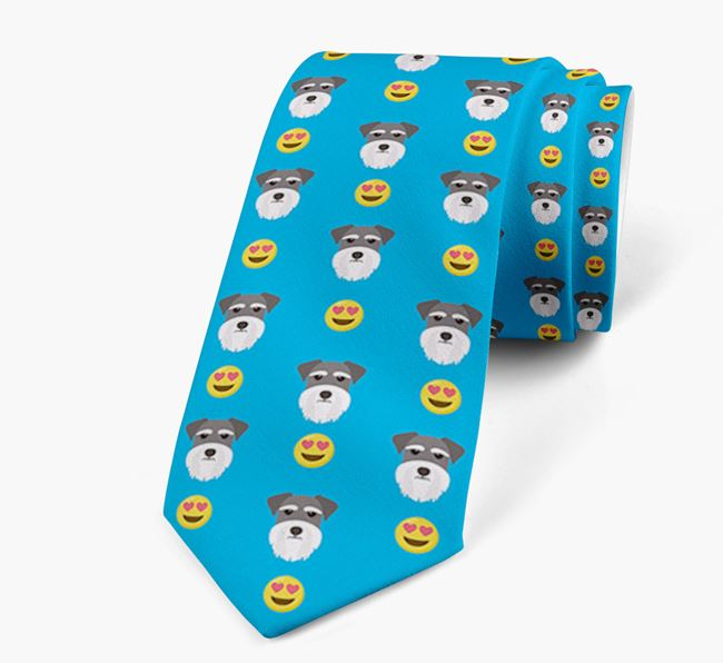 Neck Tie with Heart Eye Emoji and Miniature Schnauzer Icon pattern