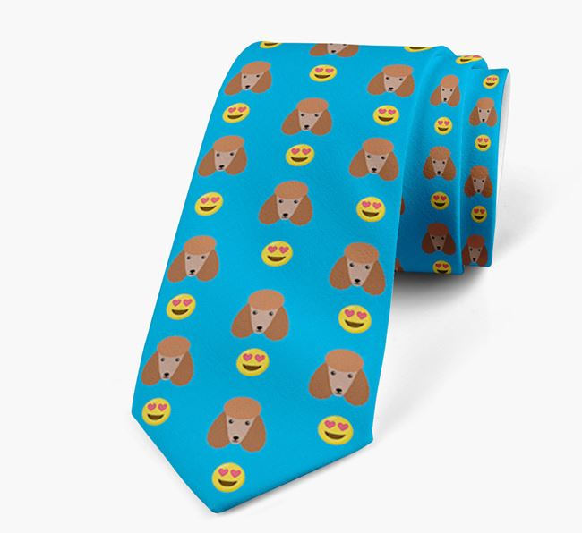 Neck Tie with Heart Eye Emoji and Poodle Icon pattern