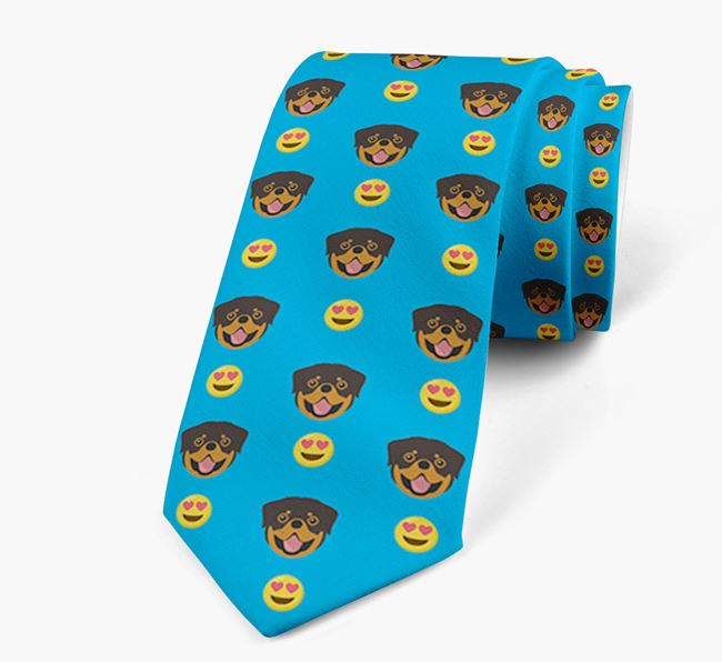 Neck Tie with Heart Eye Emoji and Dog Icon pattern