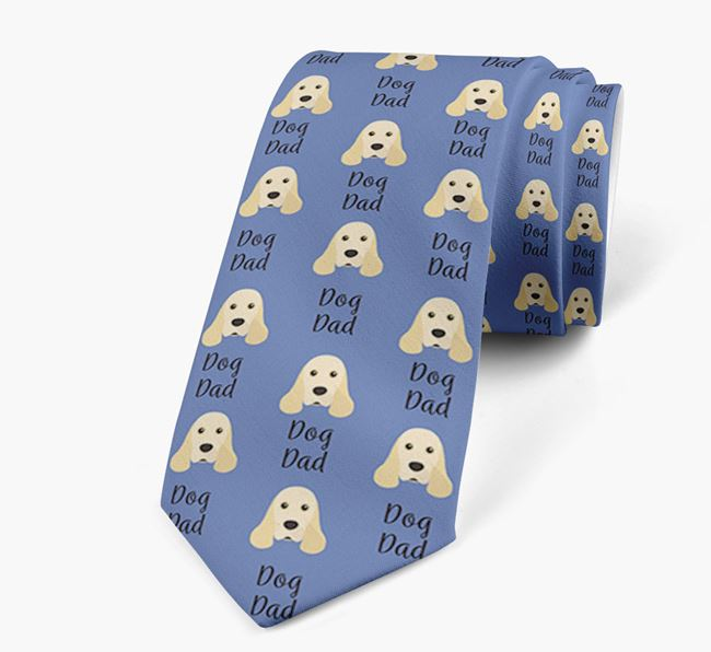 'Dog Dad' Neck Tie with American Cocker Spaniel Icon Pattern