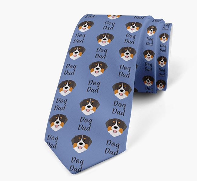 'Dog Dad' Neck Tie with Bernese Mountain Dog Icon Pattern