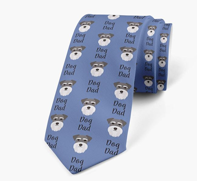 'Dog Dad' Neck Tie with Miniature Schnauzer Icon Pattern