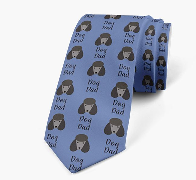 'Dog Dad' Neck Tie with Poodle Icon Pattern
