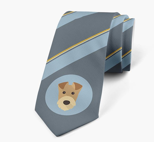 Neck Tie with Stripes and Airedale Terrier Icon