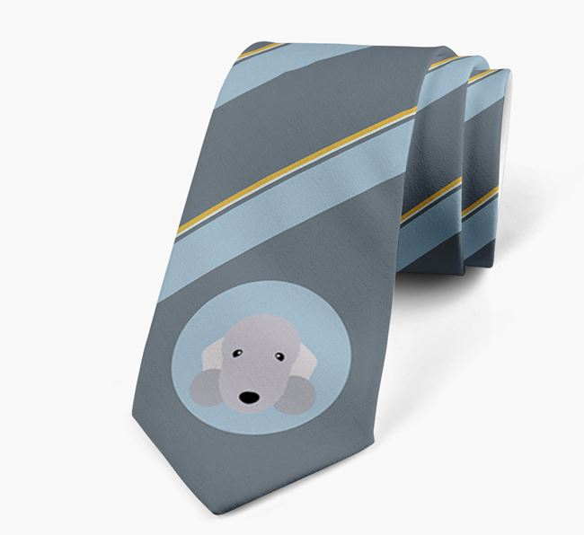 Neck Tie with Stripes and Bedlington Terrier Icon