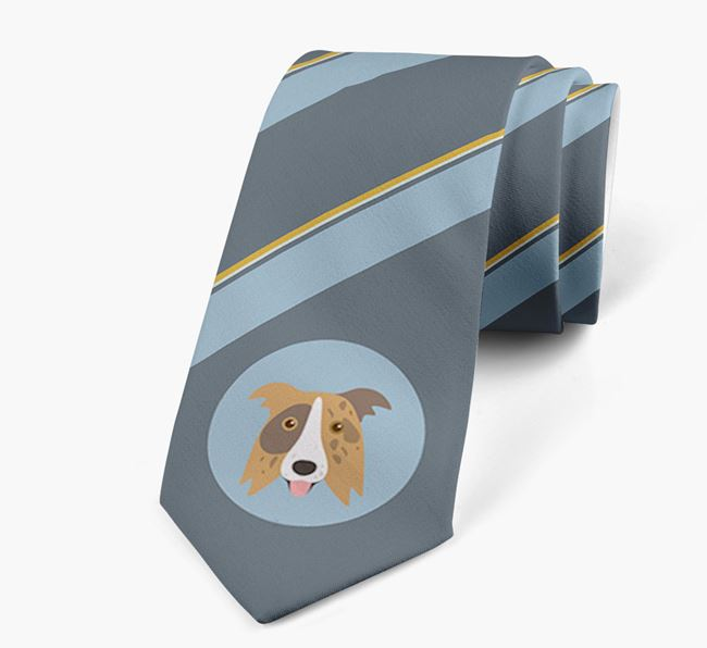 Neck Tie with Stripes and Border Collie Icon