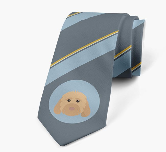 Neck Tie with Stripes and Cockapoo Icon