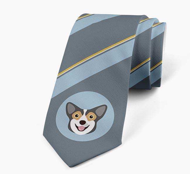 Neck Tie with Stripes and Corgi Icon