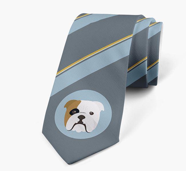 Neck Tie with Stripes and English Bulldog Icon