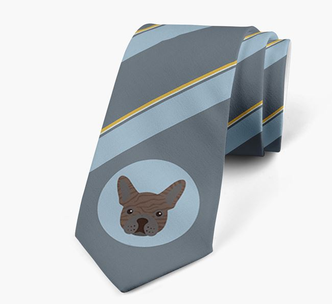Neck Tie with Stripes and French Bulldog Icon