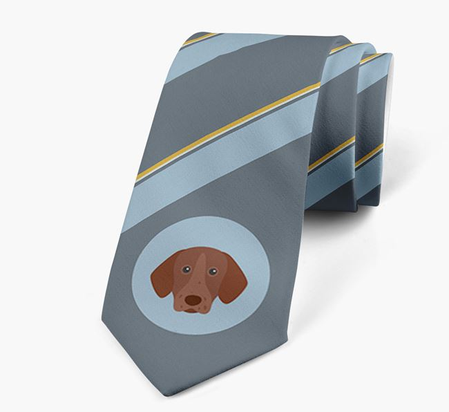 Neck Tie with Stripes and German Shorthaired Pointer Icon