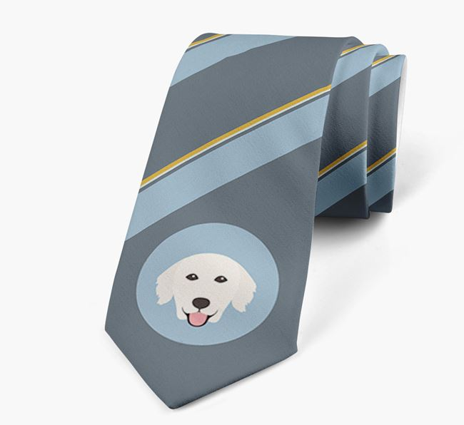Neck Tie with Stripes and Golden Retriever Icon