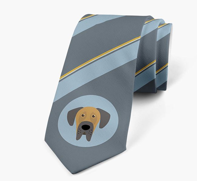 Neck Tie with Stripes and Dog Icon