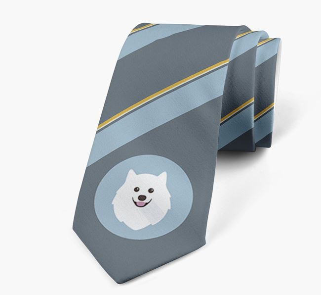 Neck Tie with Stripes and Japanese Spitz Icon