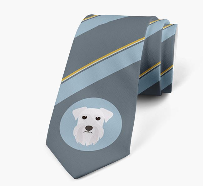 Neck Tie with Stripes and Miniature Schnauzer Icon