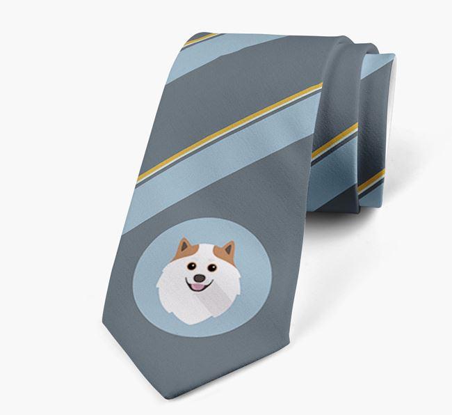 Neck Tie with Stripes and Pomeranian Icon