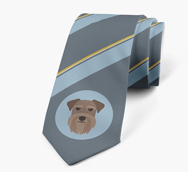 Neck Tie with Stripes and Schnauzer Icon