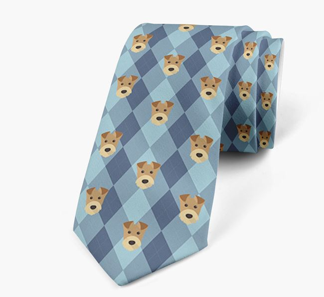 Plaid Design Neck Tie with Airedale Terrier Icon