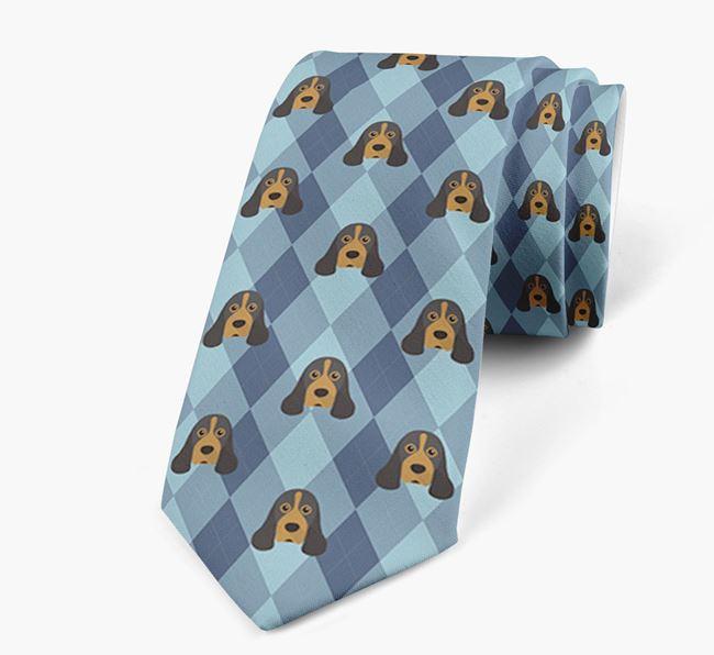 Plaid Design Neck Tie with American Cocker Spaniel Icon