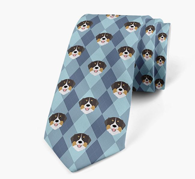 Plaid Design Neck Tie with Bernese Mountain Dog Icon