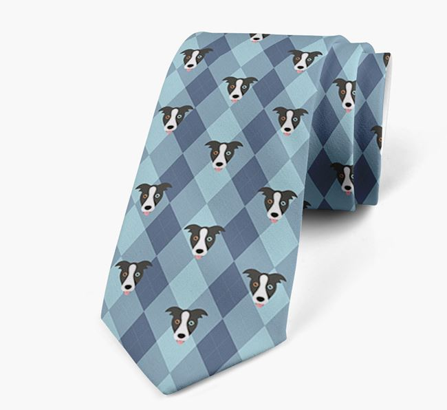 Plaid Design Neck Tie with Border Collie Icon