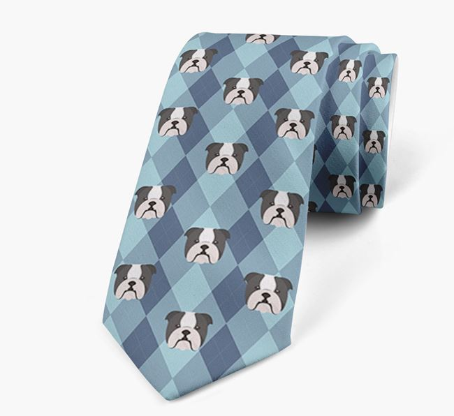 Plaid Design Neck Tie with English Bulldog Icon