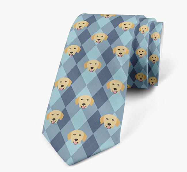 Plaid Design Neck Tie with Golden Retriever Icon