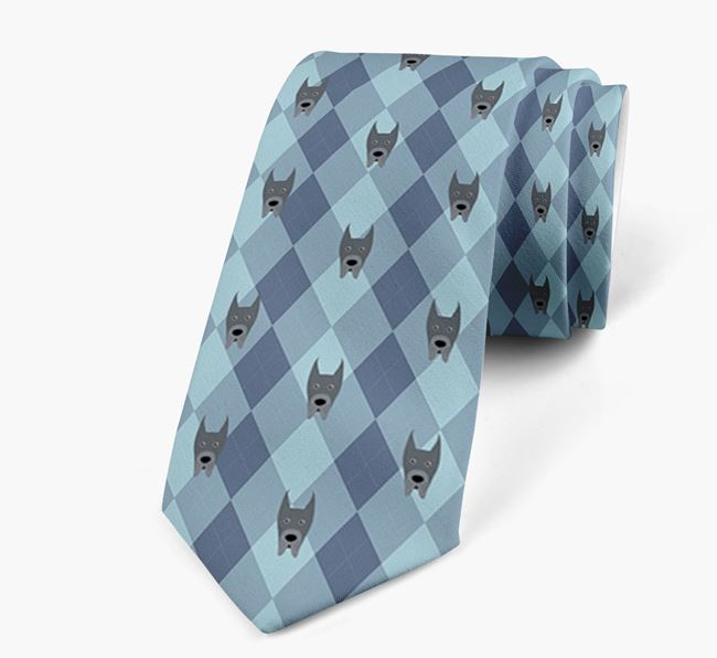 Plaid Design Neck Tie with Great Dane Icon