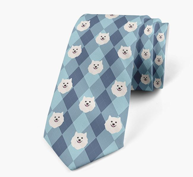 Plaid Design Neck Tie with Japanese Spitz Icon