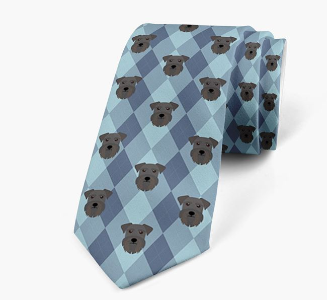 Plaid Design Neck Tie with Miniature Schnauzer Icon