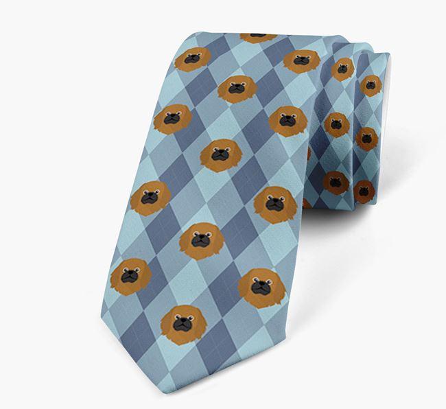Plaid Design Neck Tie with Pekingese Icon