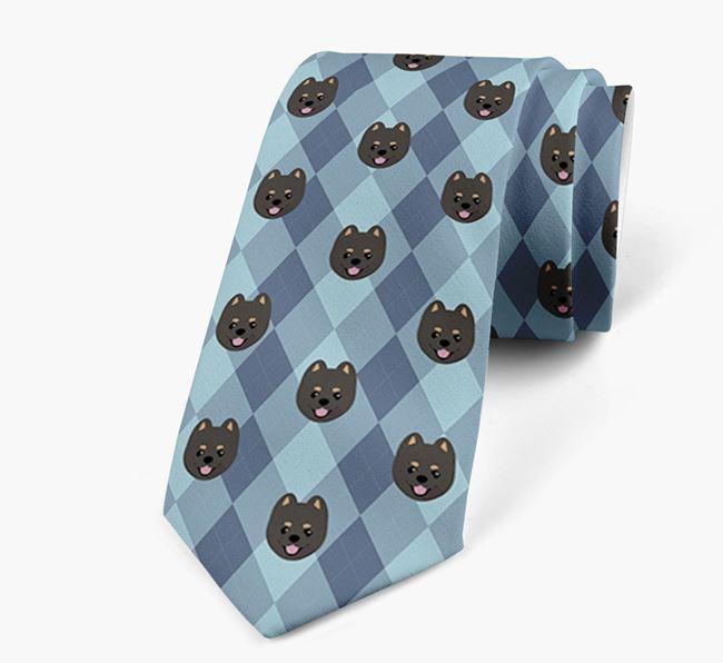 Plaid Design Neck Tie with Pomeranian Icon