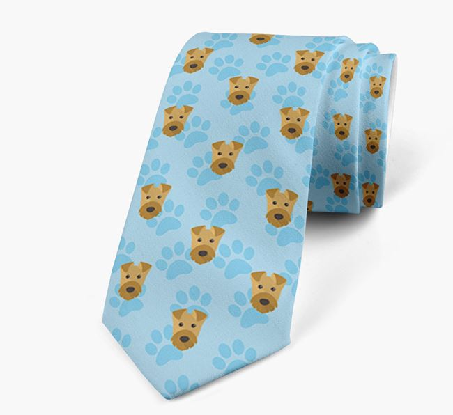 Paw Print Design Neck Tie with Airedale Terrier Icons