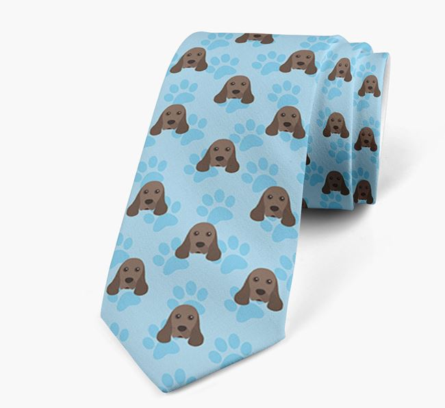 Paw Print Design Neck Tie with American Cocker Spaniel Icons