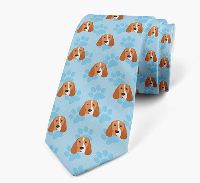 Paw Print Design Neck Tie with Cocker Spaniel Icons