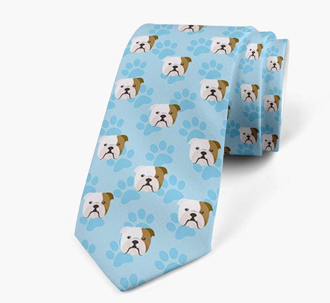 Paw Print Design Neck Tie with English Bulldog Icons