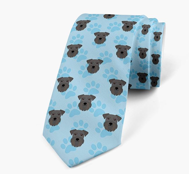 Paw Print Design Neck Tie with Miniature Schnauzer Icons