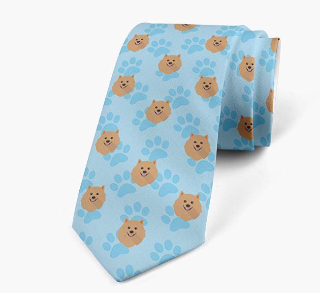 Paw Print Design Neck Tie with Pomeranian Icons
