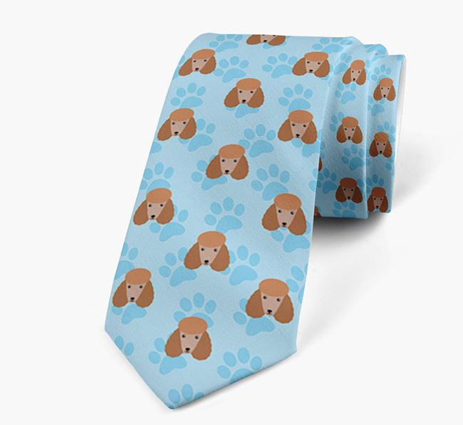 Paw Print Design Neck Tie with Poodle Icons