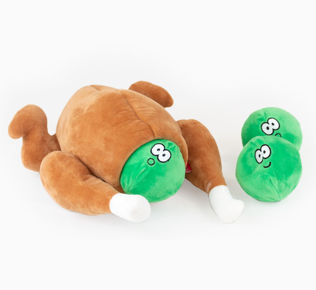 Stuffed Turkey Roast with Sprouts Dog Toy
