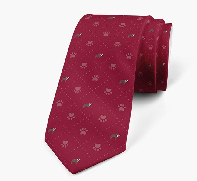 Paw Print Pattern Neck Tie with Border Collie Icons