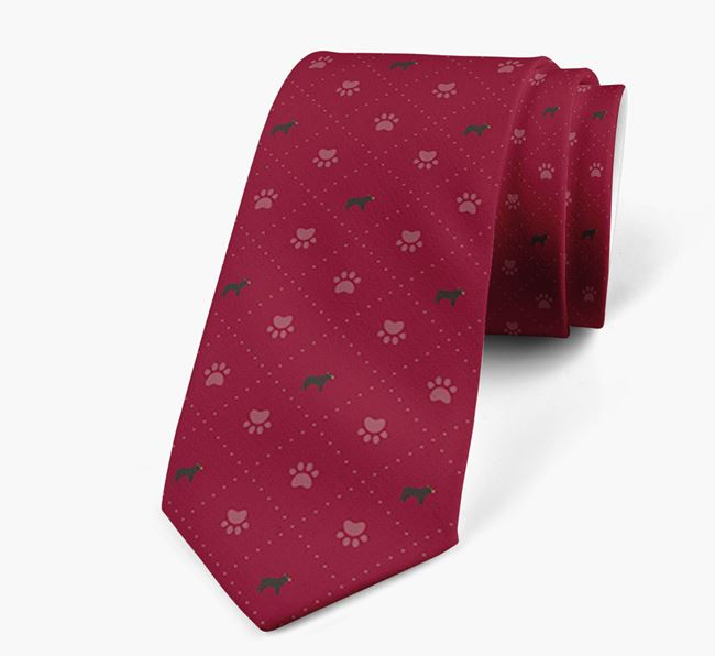 Paw Print Pattern Neck Tie with French Bulldog Icons