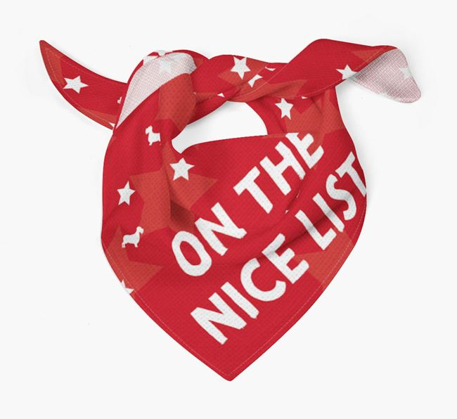 'On the Nice List' Christmas Bandana for your Miniature Schnoxie