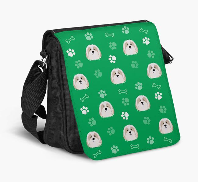 Shoulder Bag with Paw Pattern and Bearded Collie Icons