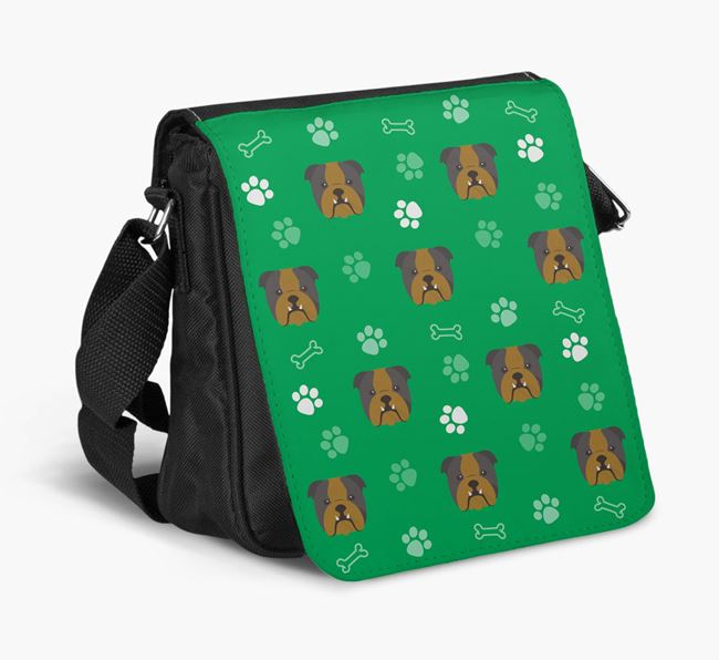 Shoulder Bag with Paw Pattern and English Bulldog Icons
