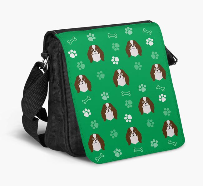 Shoulder Bag with Paw Pattern and Japanese Chin Icons