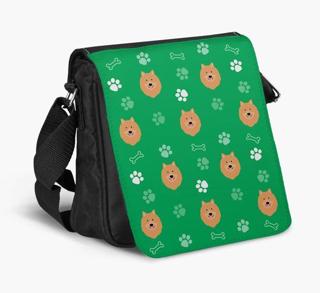 Shoulder Bag with Paw Pattern and Keeshond Icons
